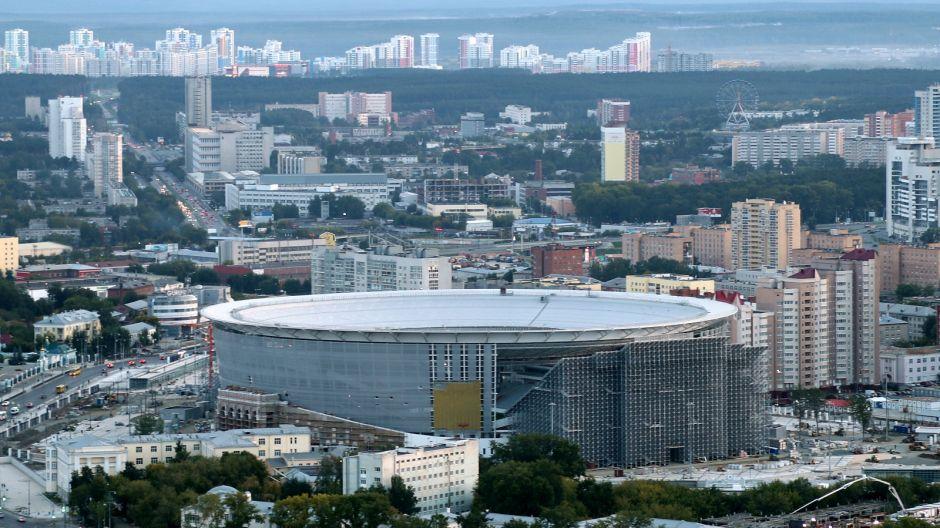 Jekaterynburg Arena Pojemność: 35 696. Rok otwarcia: 1953 (obecnie w przebudowie). Klub: Urał Jekaterynburg (fot. Getty, sierpień 2017)