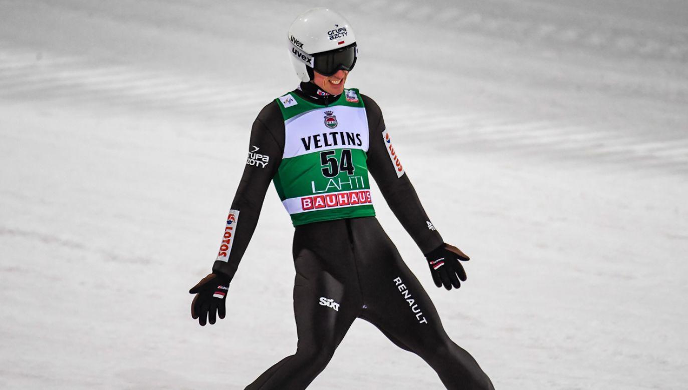 Piotr Żyła w Lahti (fot. PAP/EPA/KIMMO BRANDT)
