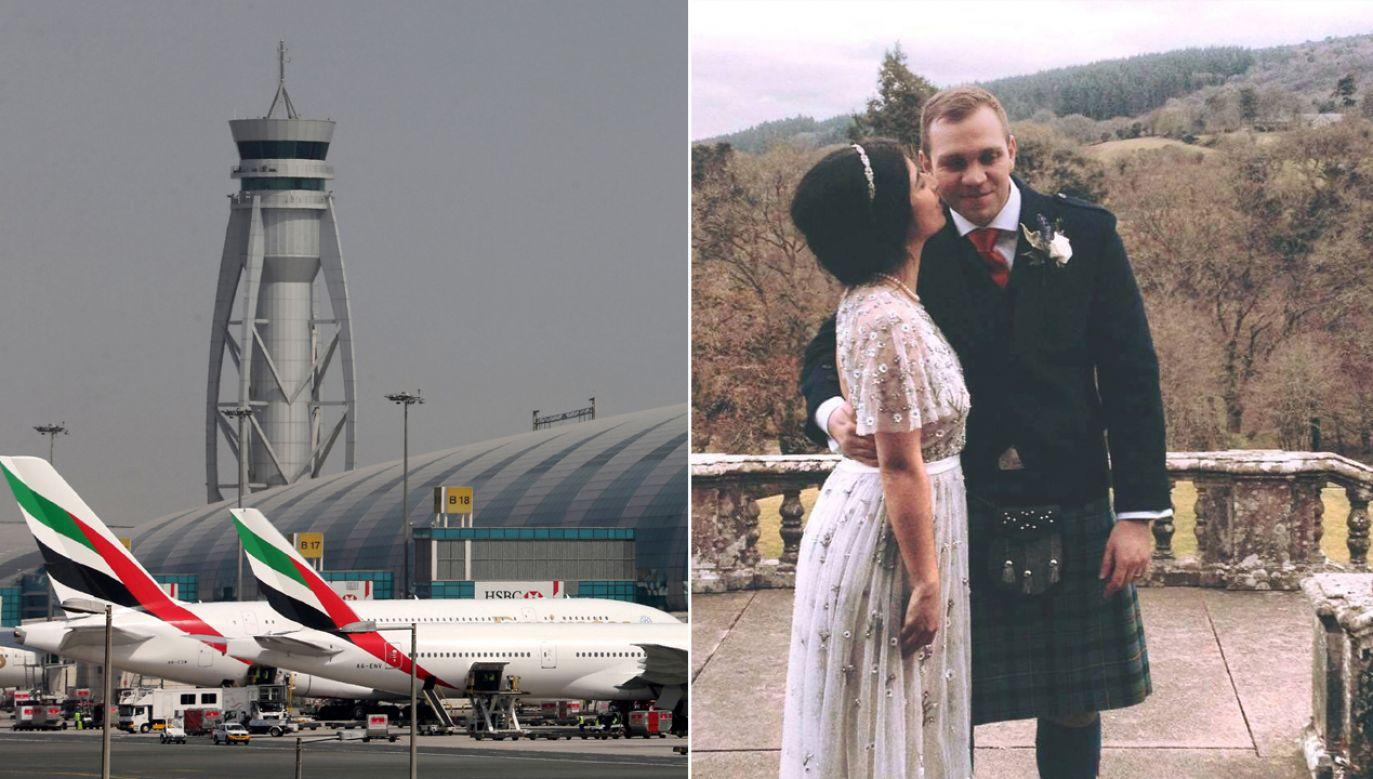 Lotnisko w Dubaju, Matthew Hedges z żoną (fot. REUTERS/Ashraf Mohammad/File photo/FB/Matthew Hedges)