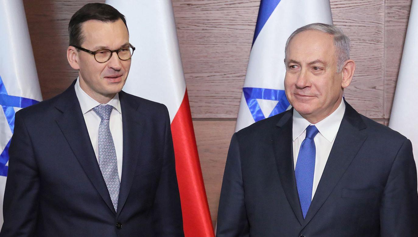 Premier RP Mateusz Morawiecki i premier Izraela Benjamin Netanjahu  (fot. PAP/Paweł Supernak)