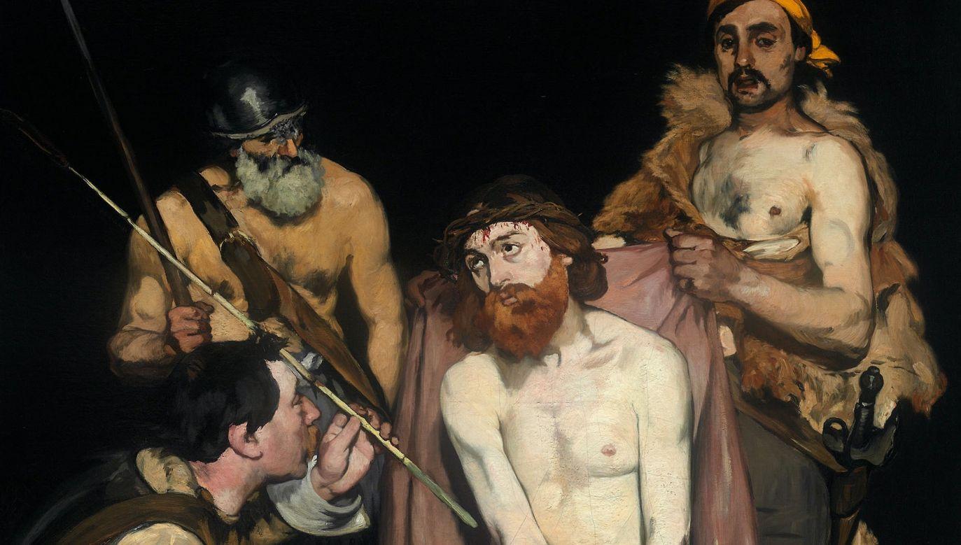 """""""Jezus wyśmiewany przez żołnierzy"""", obraz Édouarda Maneta z 1865 roku. Fot. Art. Institute Chicago, domena publiczna – https://www.artic.edu/artworks/16499/jesus-mocked-by-the-soldiers?is_public_domain=1&utm_source=DesignTAXI&utm_medium=DesignTAXI&utm_term=DesignTAXI&utm_content=DesignTAXI&utm_campaign=DesignTAXI"""