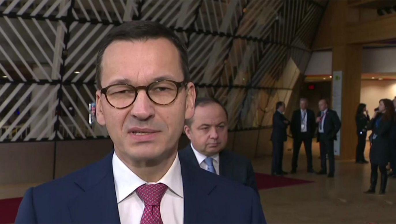 Premier Mateusz Morawiecki przybył do Brukseli na szczyt UE (fot. TVP Info)
