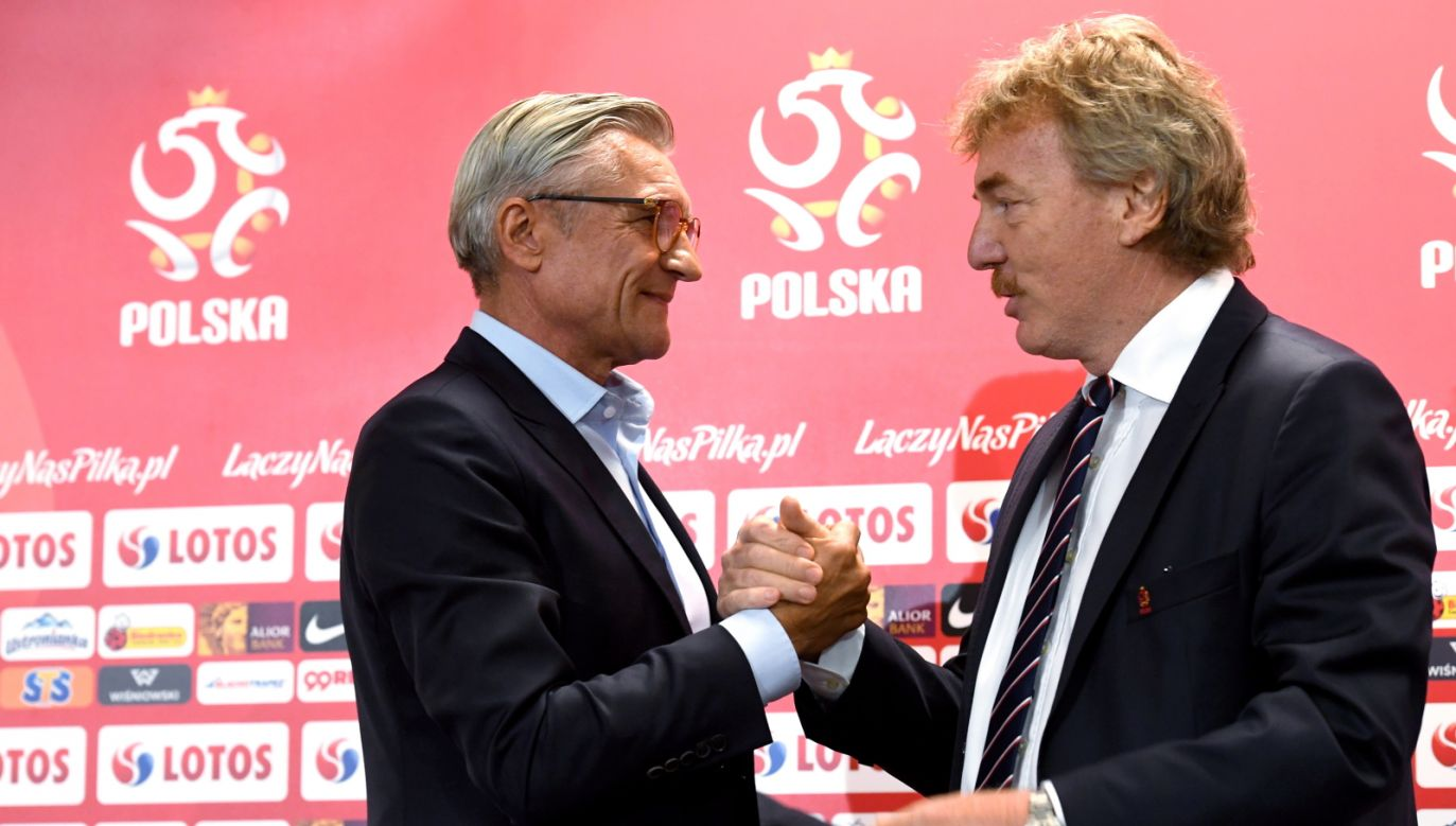 """""""I am taking full responsibility for the World Cup defeat,"""" said Mr Nawałka (L). Photo: PAP//Piotr Nowak"""