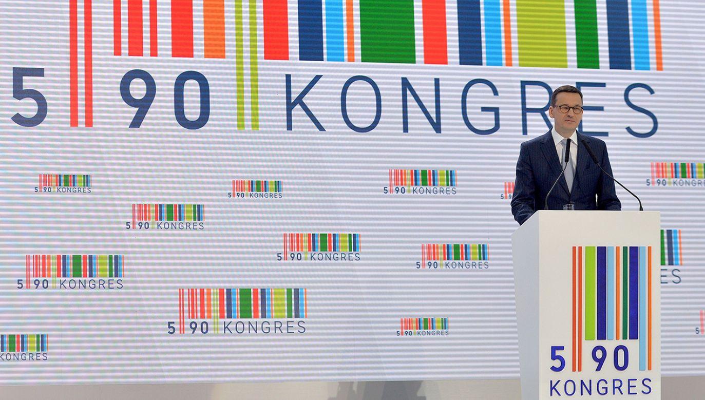 Wicepremier, minister rozwoju i finansów Mateusz Morawiecki podczas drugiego dnia Kongresu 590 (fot. PAP/Darek Delmanowicz)