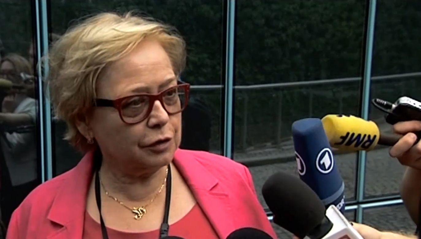 Była pierwsza prezes SN m.in. broniła działań sędziego Iwulskiego w czasie stanu wojennego (fot. TVP info)