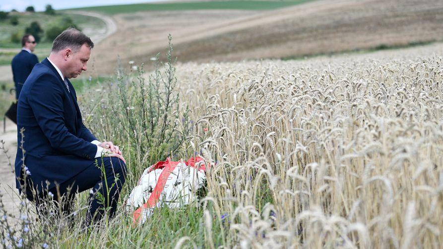 Prezydent Andrzej Duda złożył wieniec w miejscu, gdzie niegdyś była wieś Kolonia Pokuta (fot. arch. PAP/Jacek Turczyk)