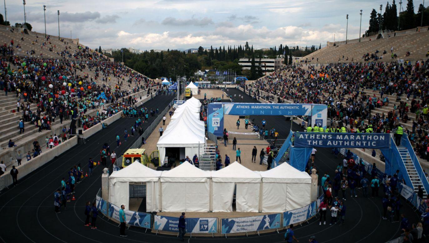 Legendarna trasa o długości 42 kilometrów i 195 metrów biegnie z miejscowości Maraton do Stadionu Panateńskiego (na zdj.) (fot. Giorgos Georgiou/NurPhoto via Getty Images)