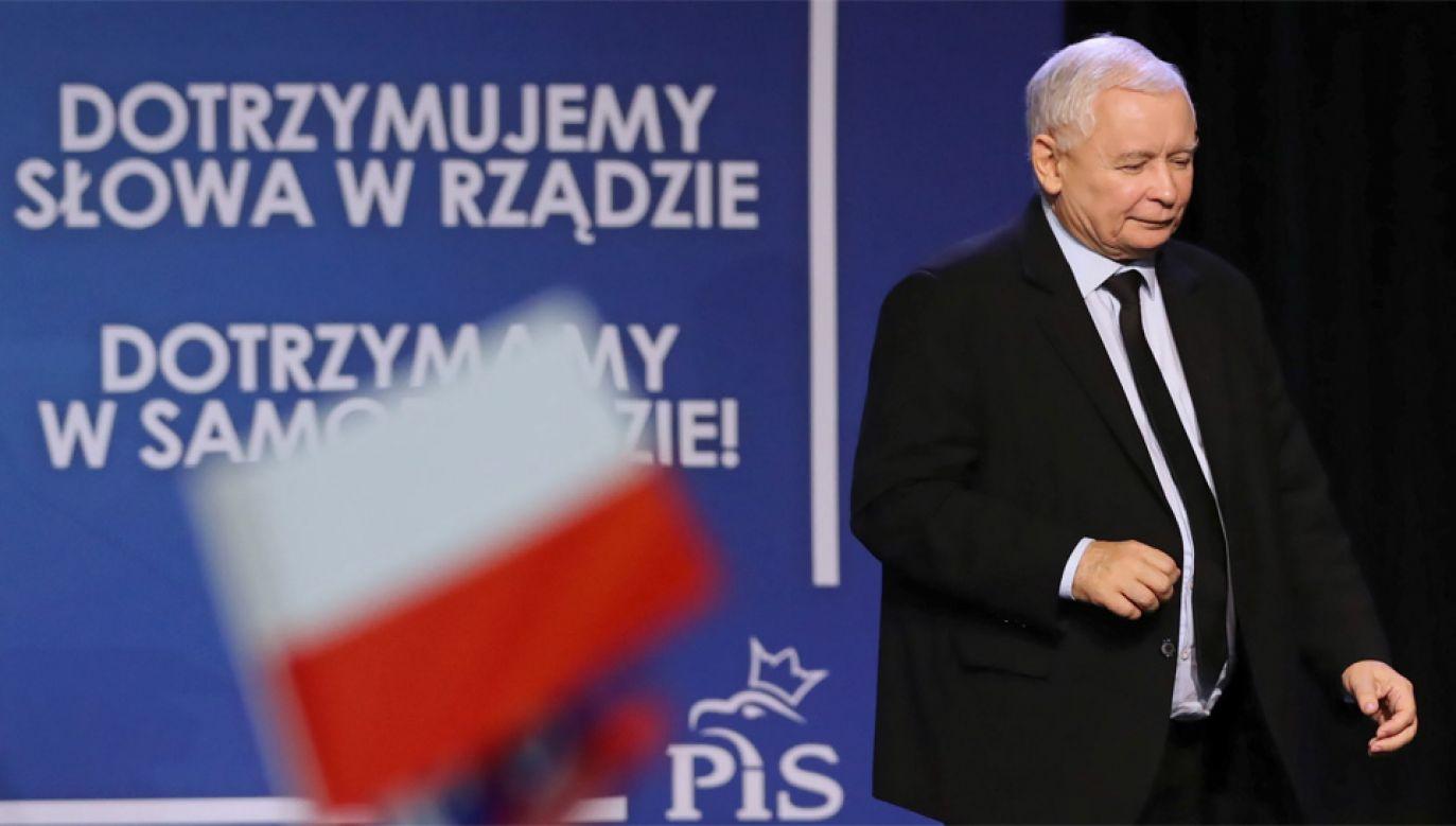 Jarosław Kaczyński uważa, że Patryk Jaki świetnie sprawdzi się w samorządzie (fot. PAP/Grzegorz Momot)