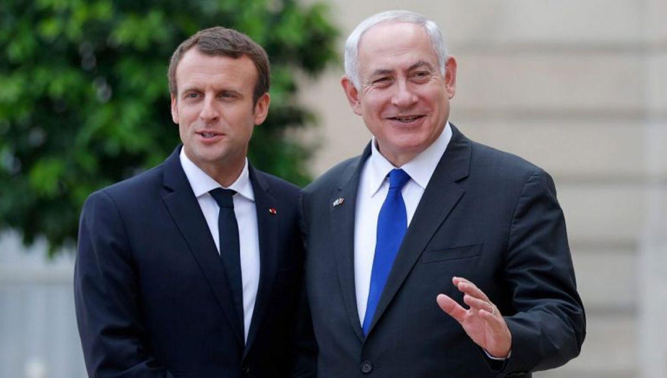 Prezydent Francji Emmanuel Macron i premier Izraela Benjamin Netanjahu (fot. STEPHANE MAHE/REUTERS)