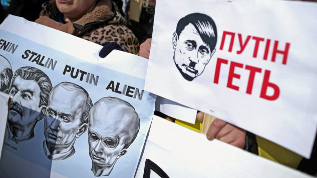 Demonstracja przeciwko rosyjskim oddziałom na Ukrainie. Waszyngton, 6 marca 2014 r. (fot. Chip Somodevilla / Getty Images)