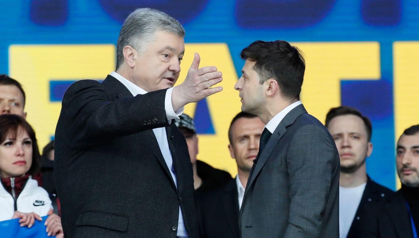 Kandydaci na prezydenta Ukrainy: Petro Poroszenko i Wołodomyr Zelenski (fot. PAP/EPA/STEPAN FRANKO)