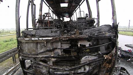 Pożar autokaru na autostradzie A4 koło Rzeszowa