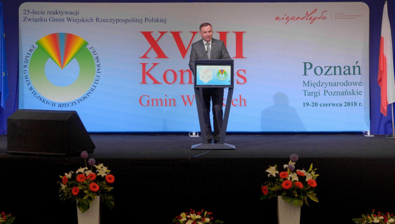 Prezydent Andrzej Duda wystąpił podczas Kongresu Gmin Wiejskich (fot. PAP/Jakub Kaczmarczyk)