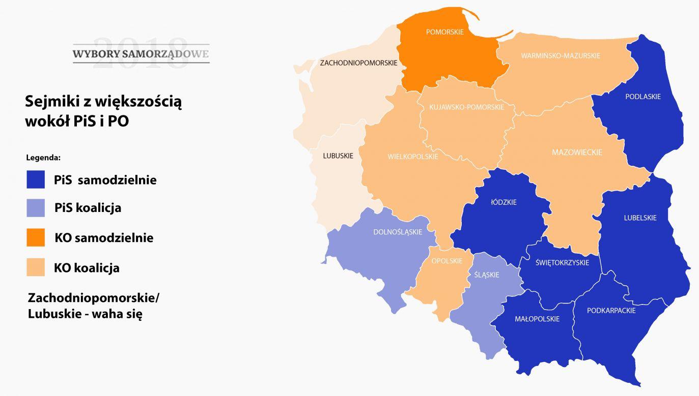 Rozmowy koalicyjne wciąż toczą się w województwach lubuskim i zachodniopomorskim (fot. portal tvp.info)