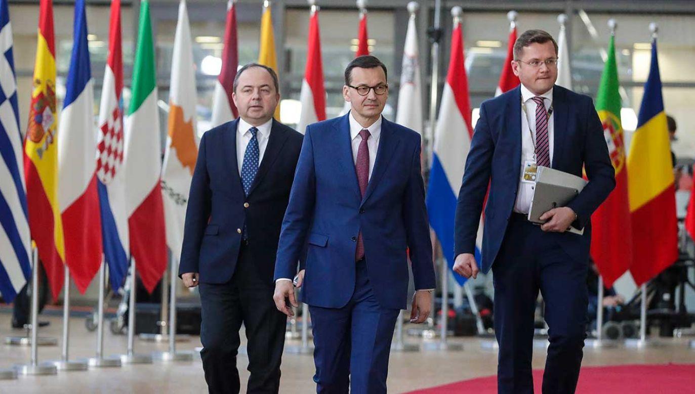 Polski premier Mateusz Morawiecki na szczycie Rady Europejskiej w Brukseli (fot. PAP/EPA/STEPHANIE LECOCQ)