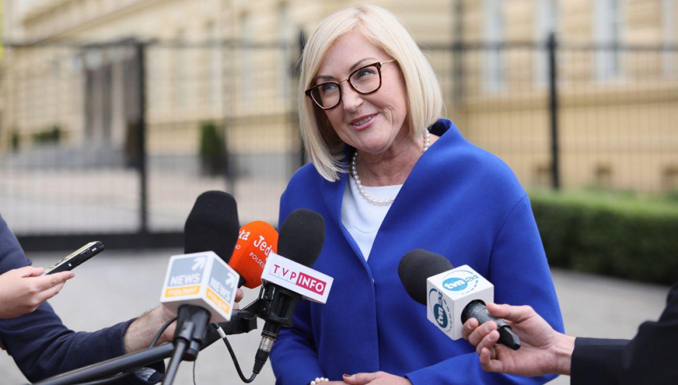 Rzeczniczka rządu Joanna Kopcińska liczy na osiągnięcie porozumienia (fot. PAP/Leszek Szymański)