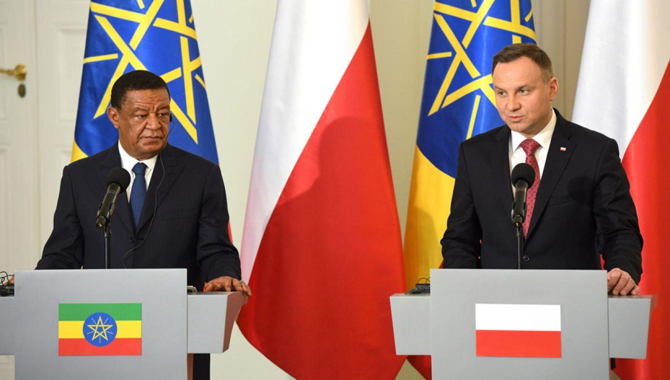 Prezydent  Andrzej Duda oraz prezydent Etiopii Mulatu Teshome Wirtu (fot. PAP/Radek Pietruszka)