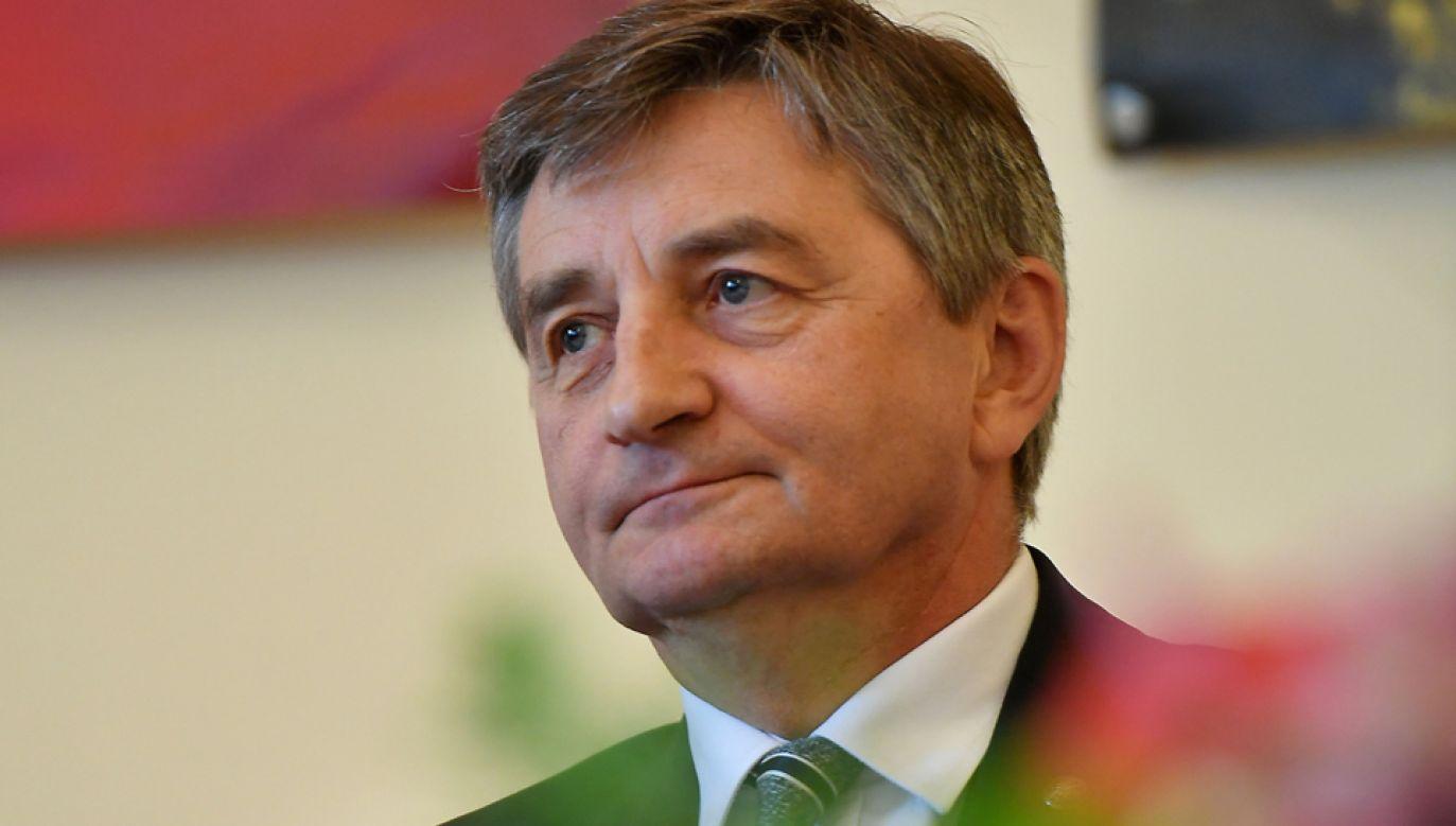 Marszałek Sejmu Marek Kuchciński przybył do Pragi na zaproszenie szefa Izby Poselskiej czeskiego parlamentu (fot. PAP/Piotr Polak)