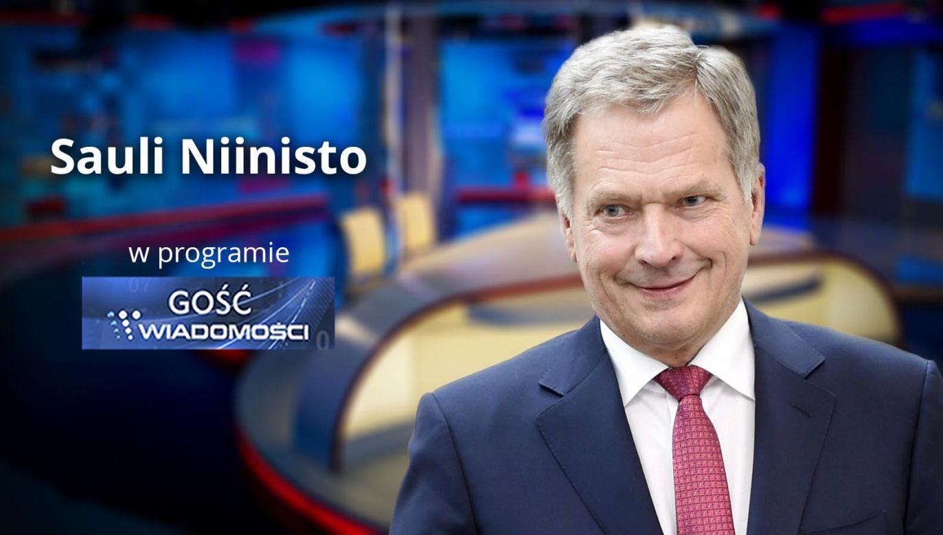 """W programie """"Gość Wiadomości"""" Krzysztof Ziemiec rozmawiał będzie z prezydentem Finlandii Sauli Niinistö (fot. TVP Info)"""
