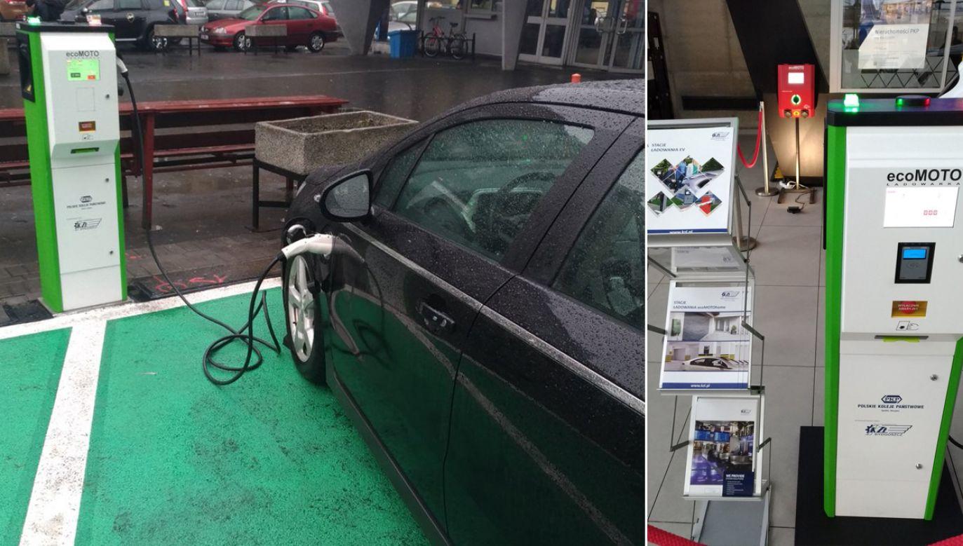 Ładowarki do aut już pojawiły się na polskich dworcach. Będzie ich coraz więcej (fot. TT/PKP TELKOL)