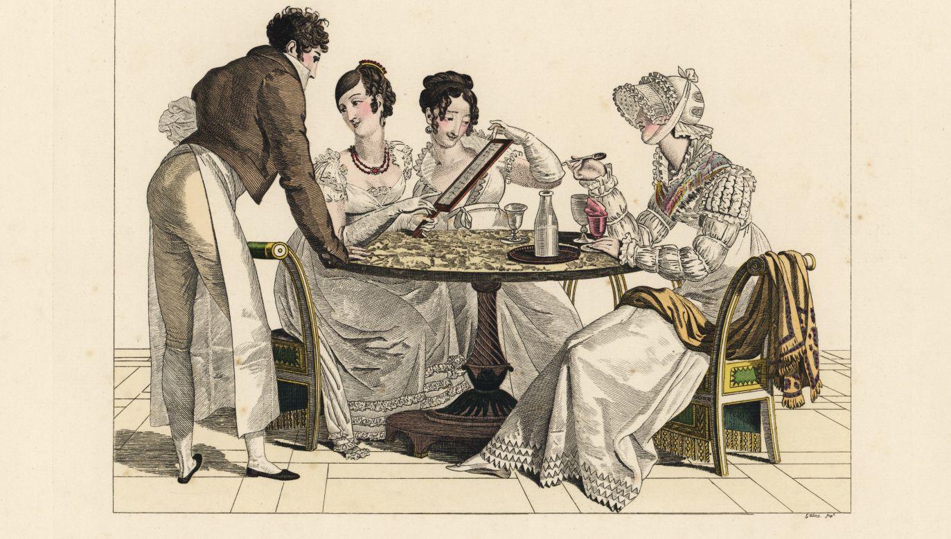 Kobiety flirtujace z kelnerem. Ręcznie malowane grawerowanie Gatine z Le Bon Genre Pierre'a de la Mesangere, Paryż, 1817. Fot. Florilegius / SSPL / Getty Images