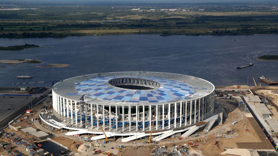 Stadion Niżny Nowogród. Pojemność: 45 331. Rok otwarcia: obecnie w budowie. Klub: Olimpijec Niżny Nowogród (fot. Getty, sierpień 2017)
