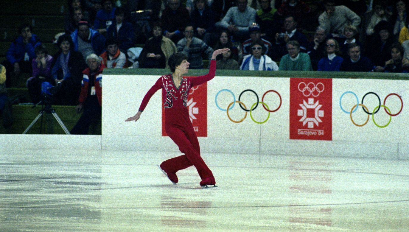 Grzegorz Filipowski podczas Igrzysk Olimpijskich w Sarajewie w 1984 r. (fot. arch. PAP/Wojciech Kryński)