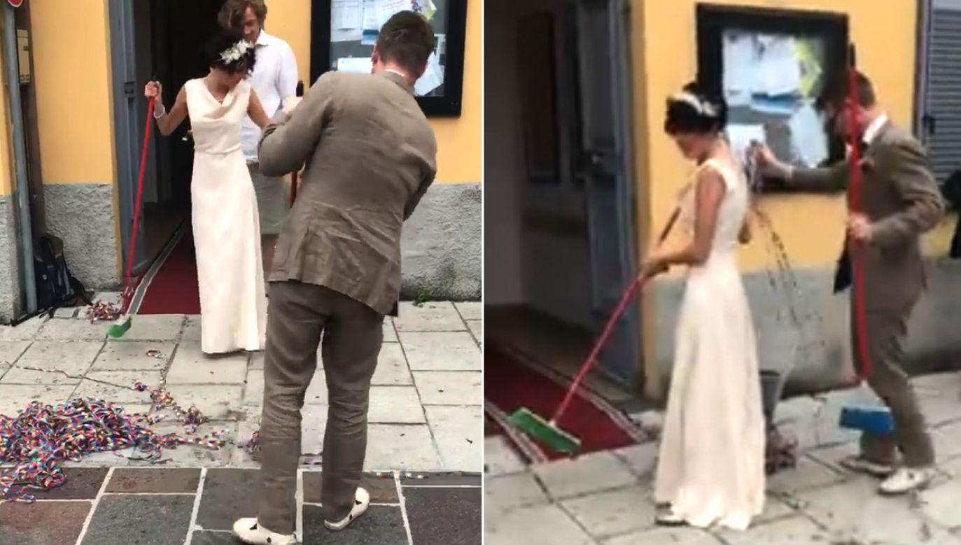 Młoda para posprzątała przed urzędem (fot. FB/Efrem Brambilla)