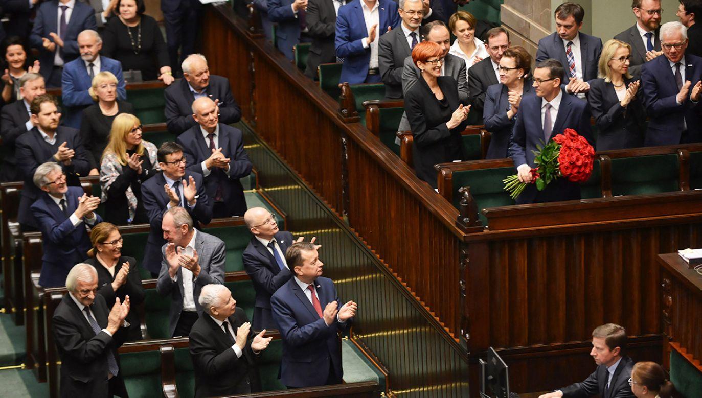 Premier Mateusz Morawiecki otrzymał wotum zaufania (fot. PAP/Jakub Kamiński)