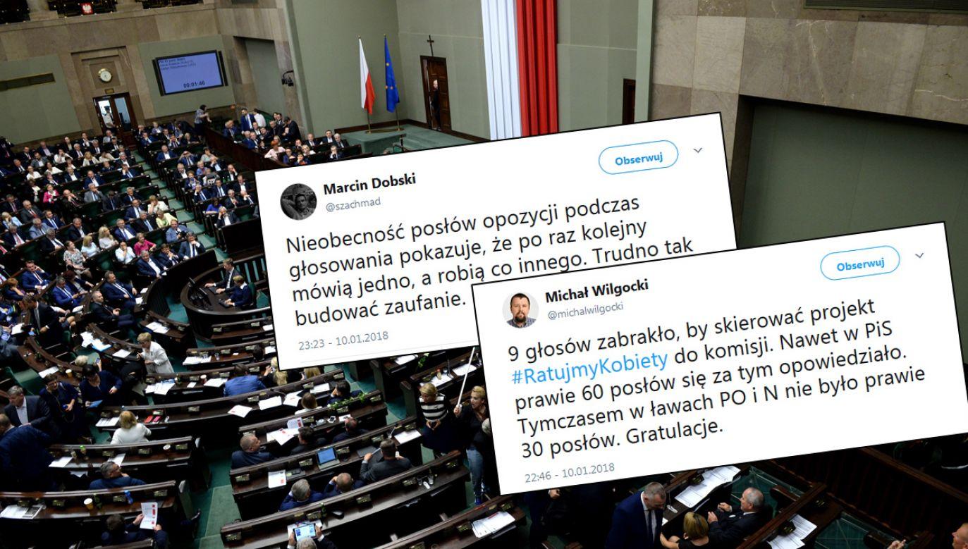 """Projekt """"Ratujmy Kobiety 2017"""" odrzucony (fot. arch. PAP/ Jacek Turczyk, Twitter)"""
