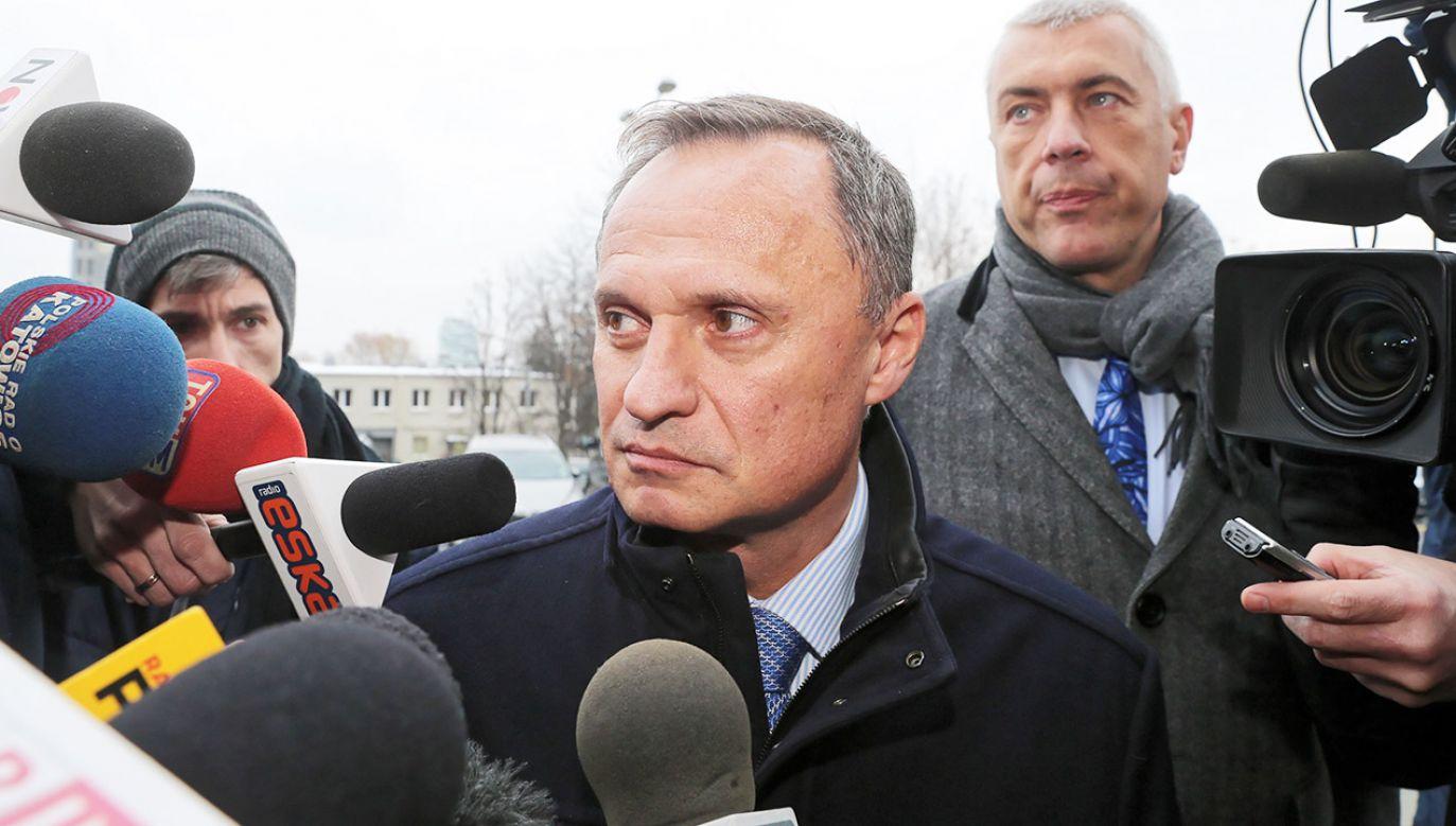 Leszek Czarnecki w prokuraturze w Katowicach  (fot. PAP/Andrzej Grygiel)