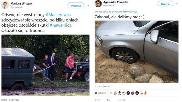Politycy Platformy śmiali się z szefa MON, ich koleżanka sama utknęła w błocie (fot. tt/mswitczak/tt/pomaska)