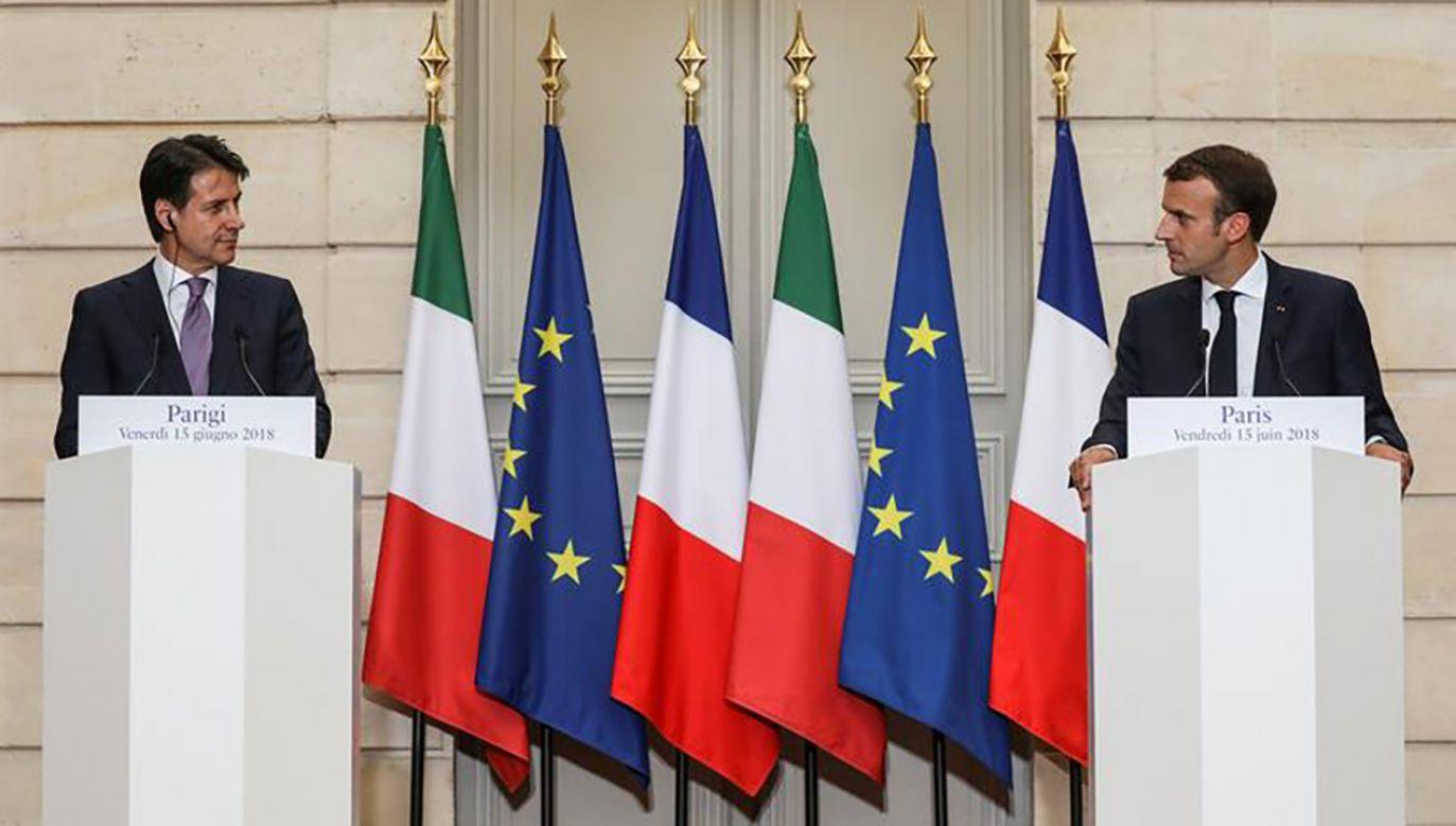 """Za """"obraźliwe"""" i """"nie na miejscu"""" uznali przedstawiciele rządu Włoch słowa prezydenta Francji (fot. Ludovic Marin/Pool via Reuters)"""
