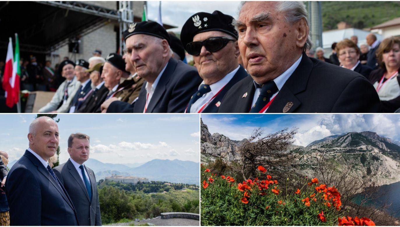 Polish veterans of Monte Cassino (top), Polish Defence Minister Mariusz Błaszczak and Interior Minister Joachim Brudziński(bottom left) and red poppies. Photos: PAP