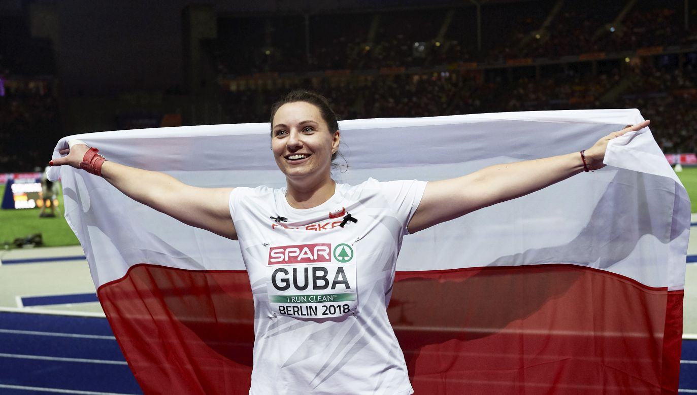 Paulina Guba celebrating her victory in the shot put competition at the European Athletics Championships in Berlin. Photo: PAP/Adam Warżawa