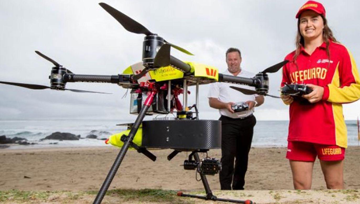 Pierwszy przypadek uratowania w wodzie człowieka przez bezzałogowy aparat latający (fot. Westpac Little Ripper Lifesaver)