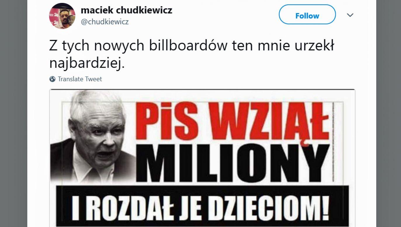 W Internecie posypała się fala krytyki wobec agresywnej akcji billboardowej PO (fot. Twitter/maciek chudkiewicz)