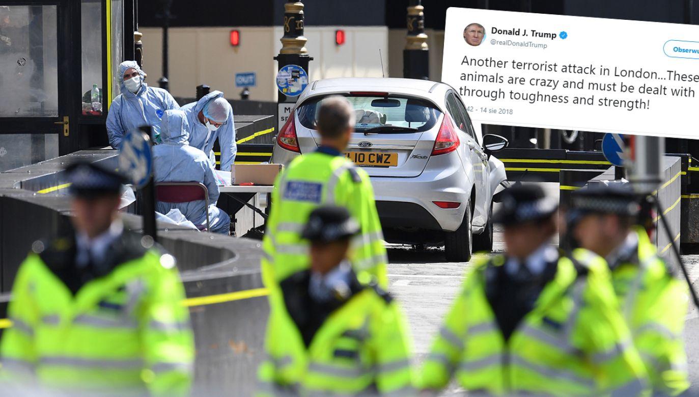 Prezydent Stanów Zjednoczonych zareagował na Twitterze na zamach w stolicy Wielkiej Brytanii (fot. PAP/EPA/ANDY RAIN/TT/Donald J. Trump)