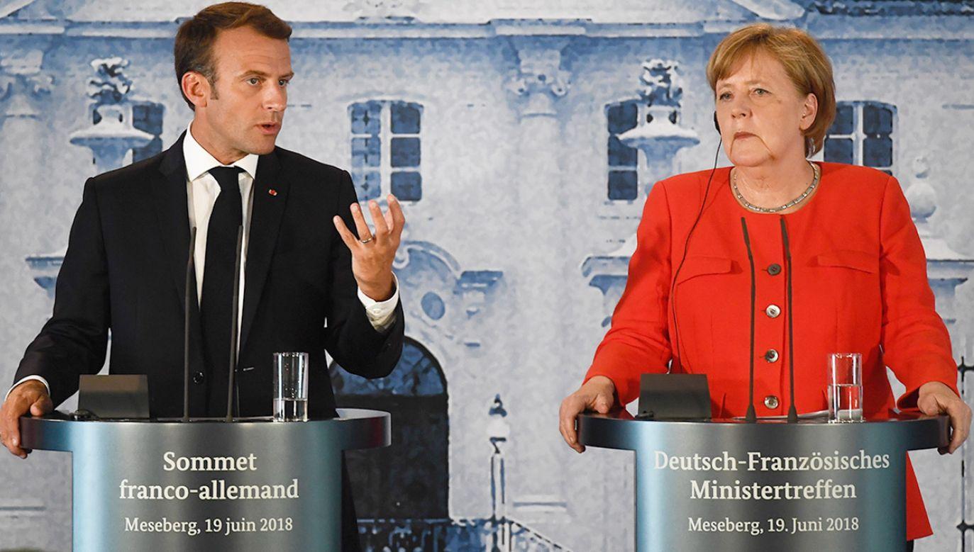 Emmanuel Macron i Angela Merkel spotkali się w zamku Meseberg w Brandenburgii  (fot. PAP/EPA/FILIP SINGER)