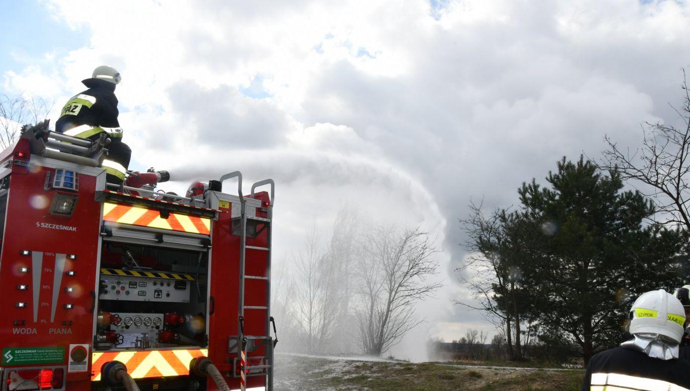 Według wstępnych ustaleń, w sobotę po godzinie 18-tej na terenie zakładów azotowych w Kędzierzynie-Koźlu doszło do zaprószenia ognia, od którego zajęła się wysuszona trawa (fot. facebook.com/Komenda Powiatowa Państwowej Straży Pożarnej w Kędzierzynie Koźlu)
