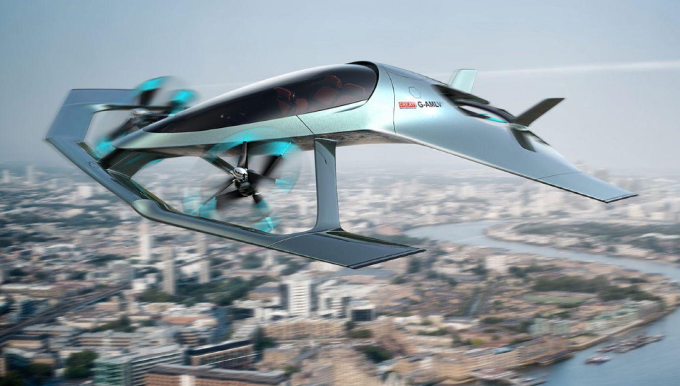 Aston Martin przedstawił projekt latającego samochodu, który ma osiągać znaczną prędkość (fot. mat.pras.)