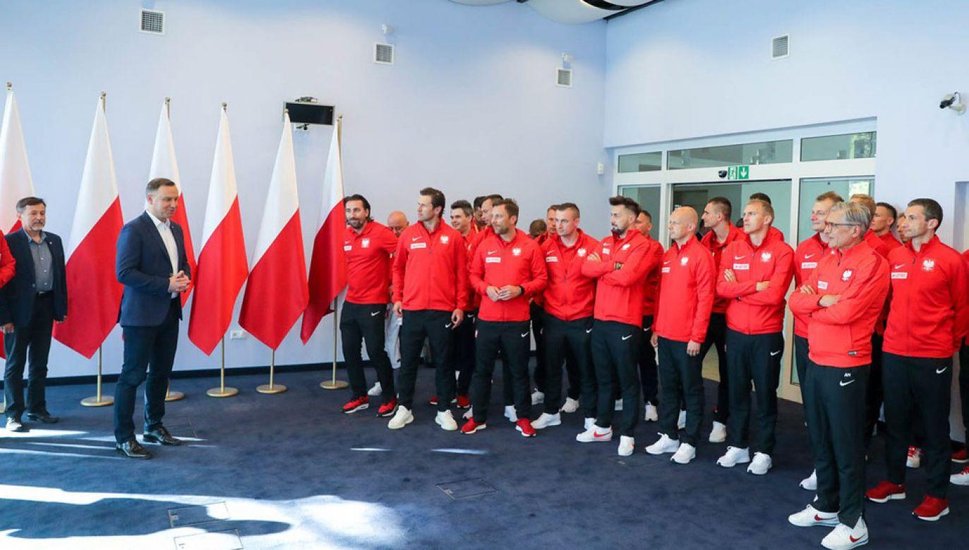 Prezydent Andrzej Duda spotkał się z piłkarską reprezentacją Polski (fot. KPRP/Jakub Szymczuk)