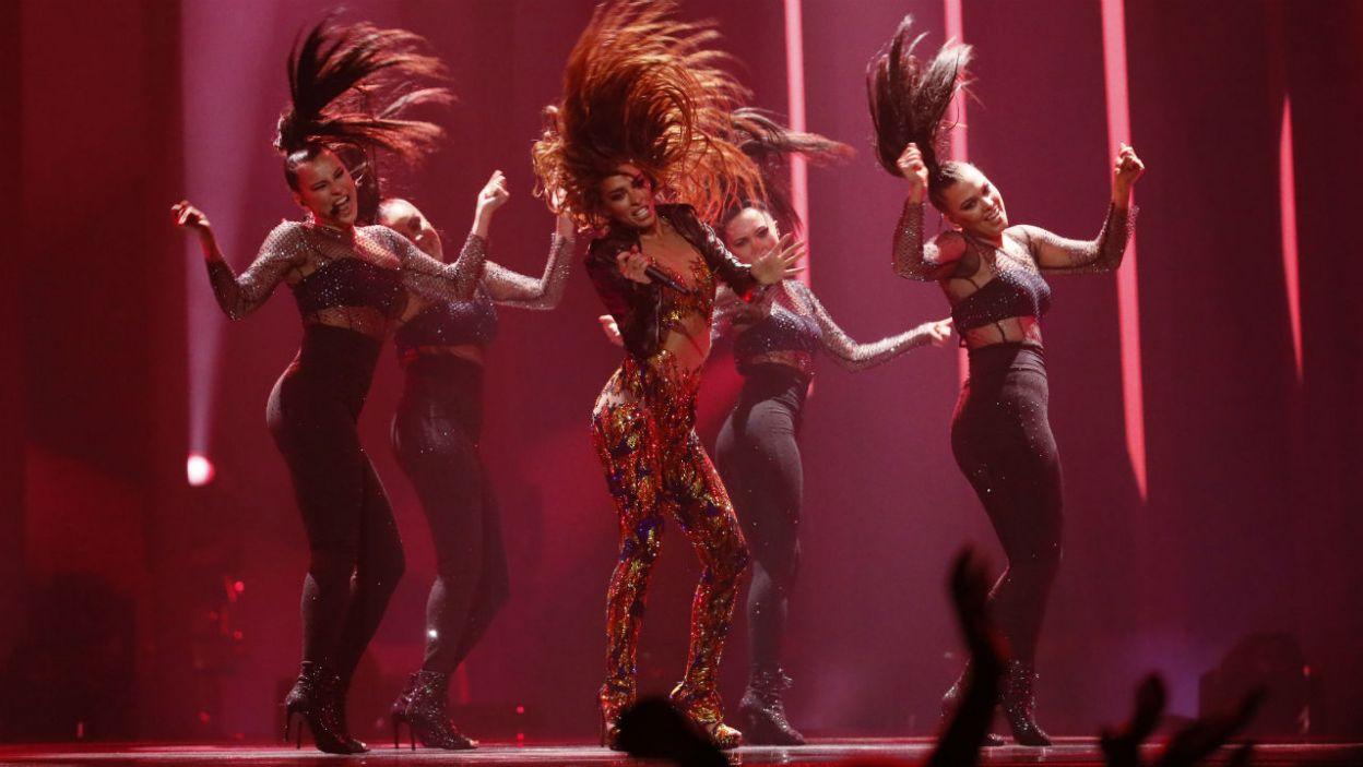 """Eleni Foureira rozpaliła scenę! Cypr walczył o zwycięstwo utworem """"Fuego"""" (fot. Andreas Putting/eurovision.tv)"""