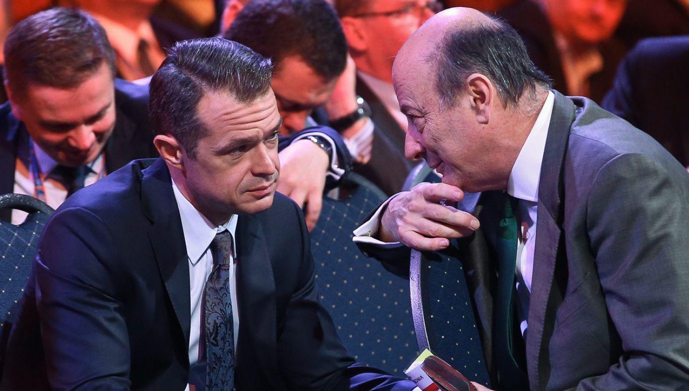 Sławomir Nowak i Jacek Rostowski na konwencji Platformy Obywatelskiej (fot. arch.PAP/Rafał Guz)