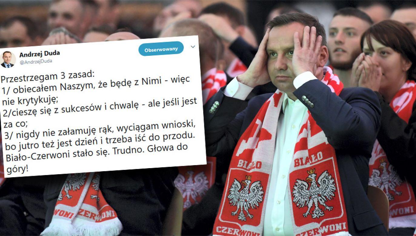 Prezydent Andrzej Duda obejrzał mecz w towarzystwie marynarzy (fot. PAP/PAP/Adam Warżawa/TT)