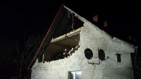 Wskutek wybuchu runęła ściana szczytowa (KP PSP Wąbrzeźno)