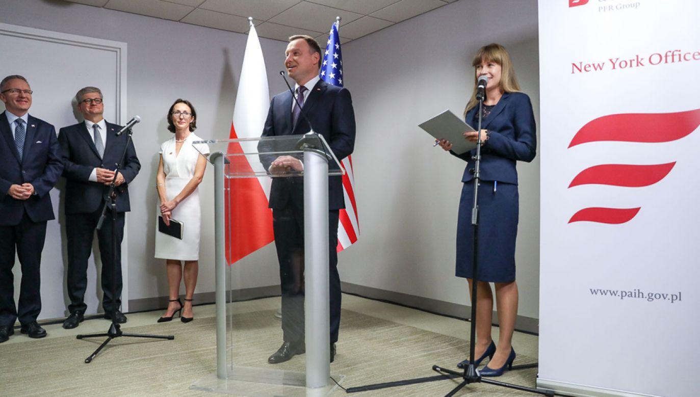 Prezydent Andrzej Duda otworzył Zagraniczne Biuro Handlowe PAIH w Nowym Jorku (fot. KPRP/Jakub Szymczuk)