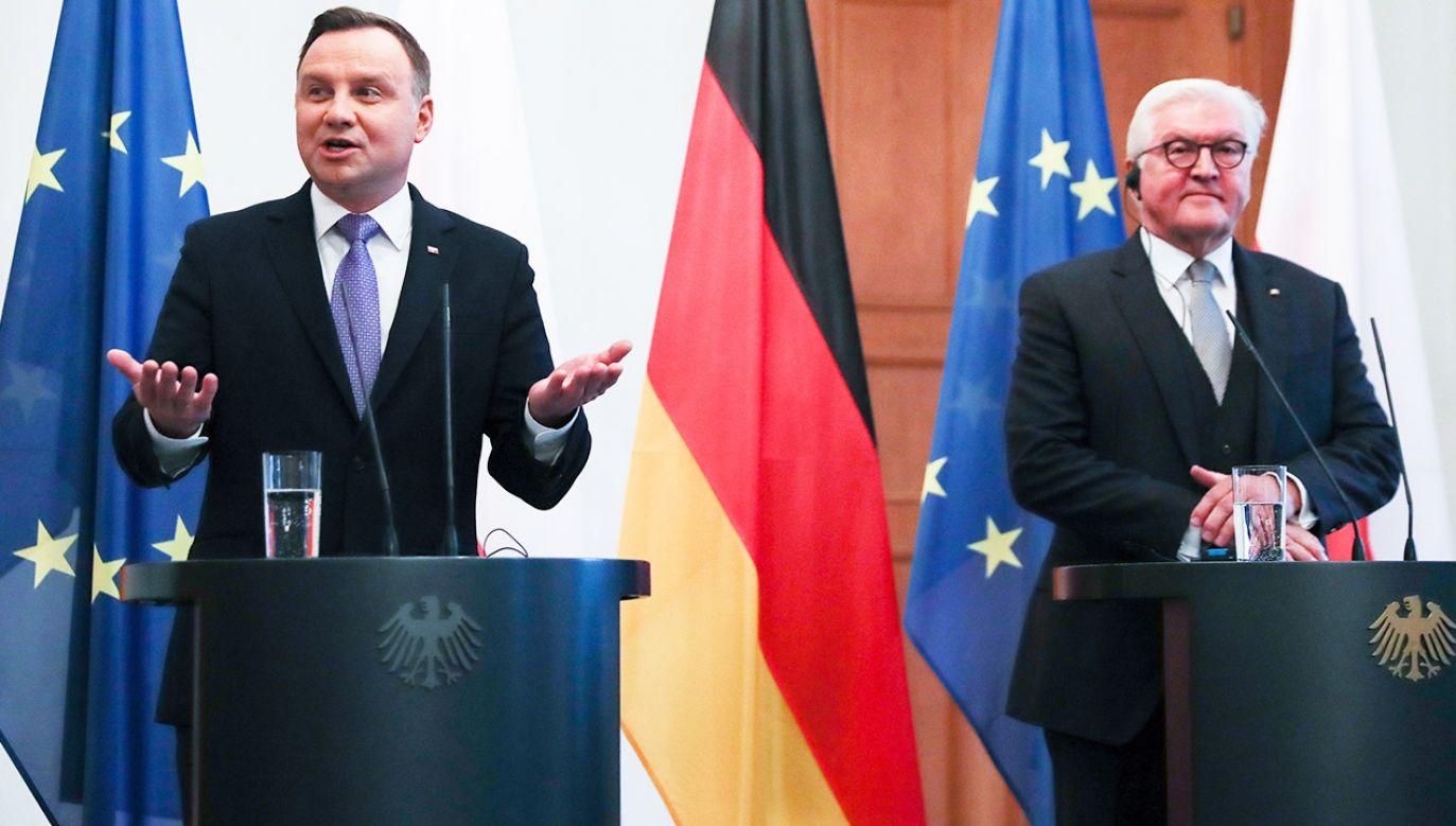 Prezydent Andrzej Duda i prezydent Niemiec Frank-Walter Steinmeier podczas wspólnej konferencji prasowej w Berlinie (fot. PAP/Jacek Turczyk)