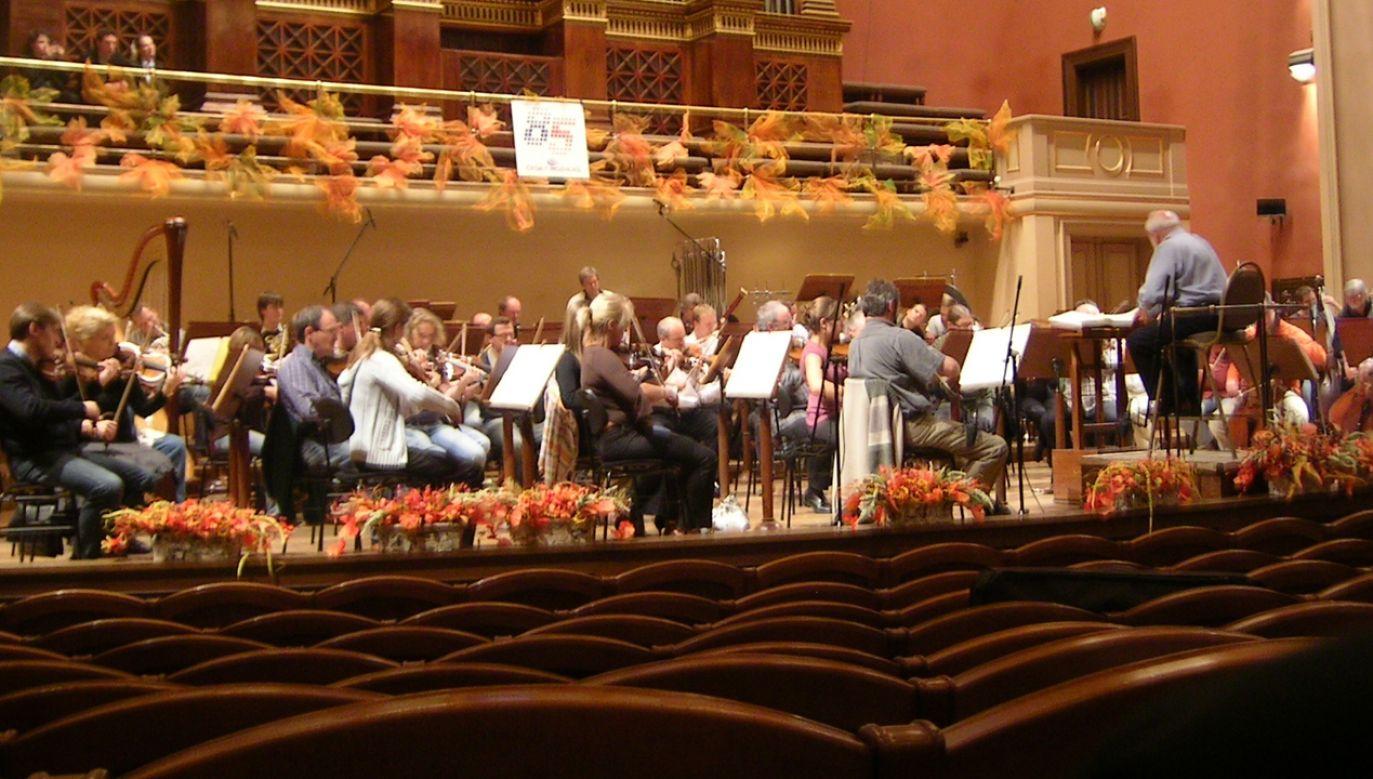 Próba Sinfonii Varsovia z Krzysztofem Pendereckim  do koncertu w Pradze - 2009 r. (fot. Wikimedia Commons/Nikol Kraft)