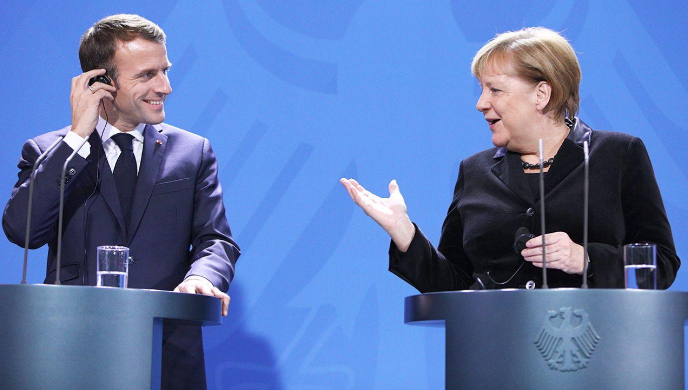 Prezydent Francji Emmanuel Macron i kanclerz Niemiec Angela Mercel (fot. PAP/EPA/OMER MESSINGE)
